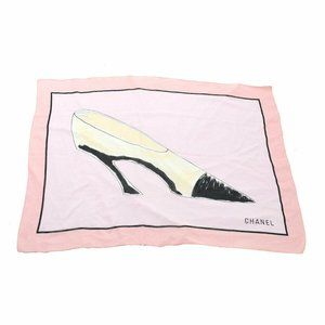 CHANEL CC Pumps Motif Stole Pink Black 100% Cotton